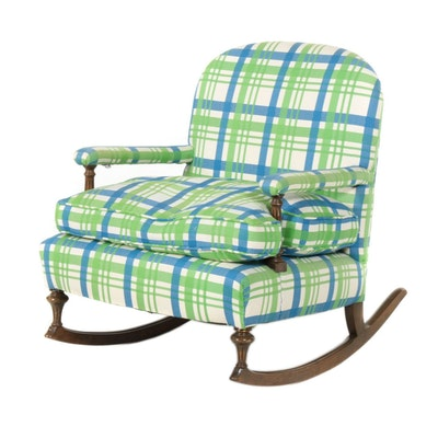Louis XVI Style Walnut-Stained and Custom-Upholstered Rocking Armchair