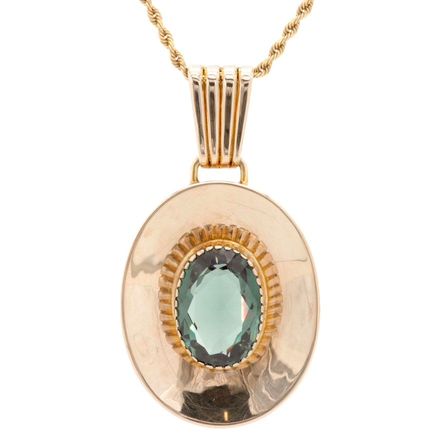 14K and 8K Yellow Gold Synthetic Spinel Necklace