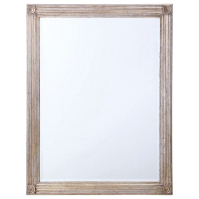 Contemporary Silvered Wood Mirror