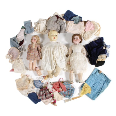 Armand Marseille and C.M. Bergmann Bisque and Composite Dolls with Clothing