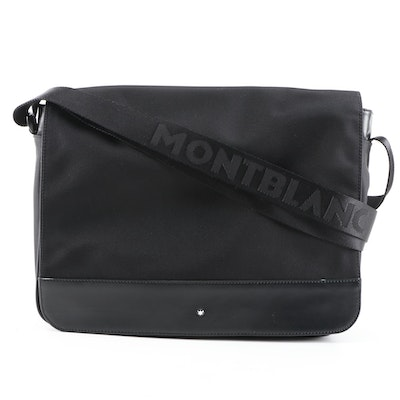 Montblanc Black Leather and Nylon Night Flight Messenger Bag