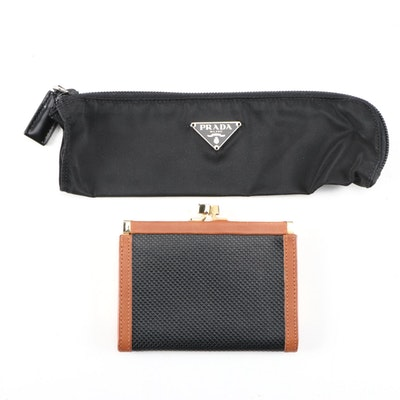 Prada Vela Nylon Travel Pouch with Bottega Veneta Coin Wallet