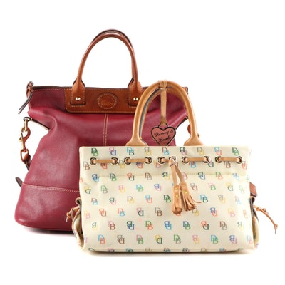 Dooney & Bourke Initials Tassel Tote and Red Calf Leather Convertible Bag