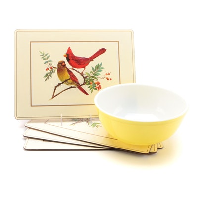"Pyrex Yellow ""Primary Colors"" Mixing Bowl with American Bird Place Mats"