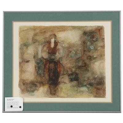 """Kiro Urdin Acrylic Painting """"Au Café en Hiver"""", 1985"""