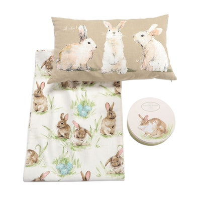 Bunny Themed Table Runner, Pillow and Plates
