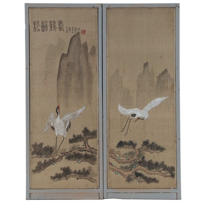 Japanese Folding Screen with Red Crowned Crane Landscape
