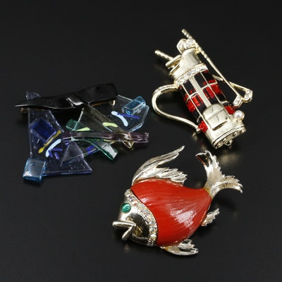 Vintage Brooches Featuring Danecraft, Rhinestones and Enamel