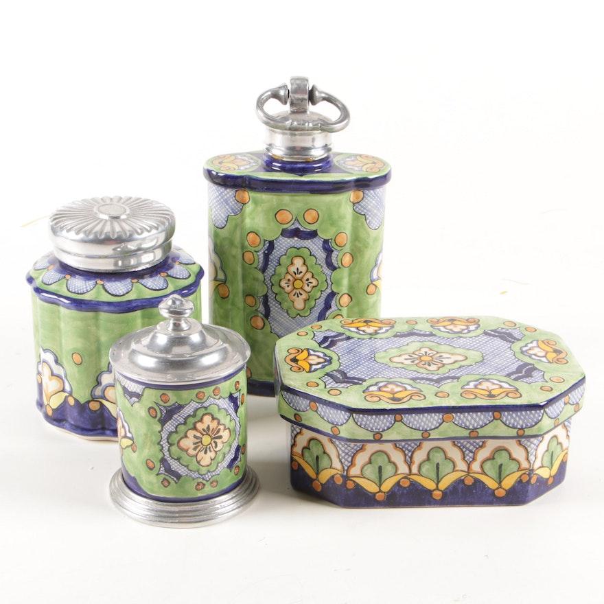 Moctezuma Mexican Pottery Vanity Jars and Box