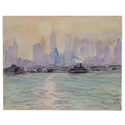 """Charles Finance Watercolor Painting """"New York"""", 1948"""
