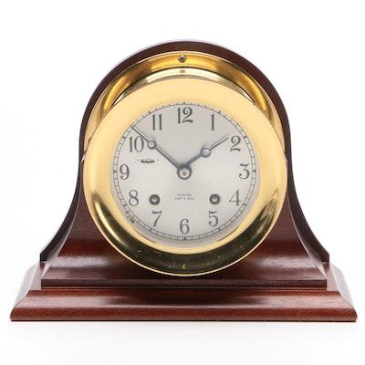 Chelsea Ship's Bell Brass and Mahogany Mantel Clock