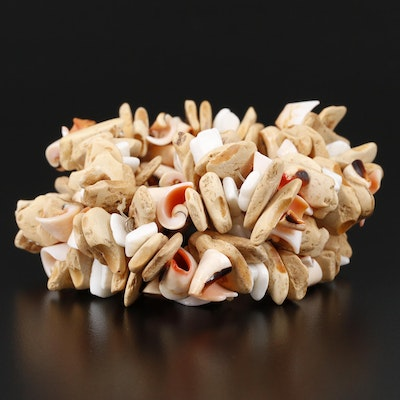 Shell and Wood Expansion Bracelet