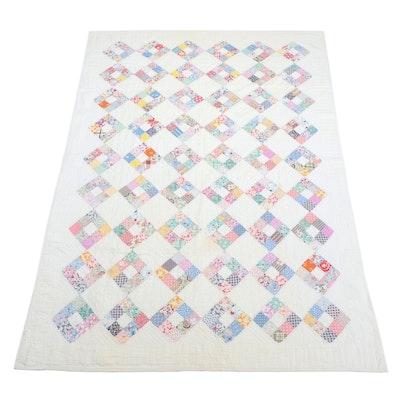 Handmade Cotton Patchwork Diamond Nine Patch Quilt