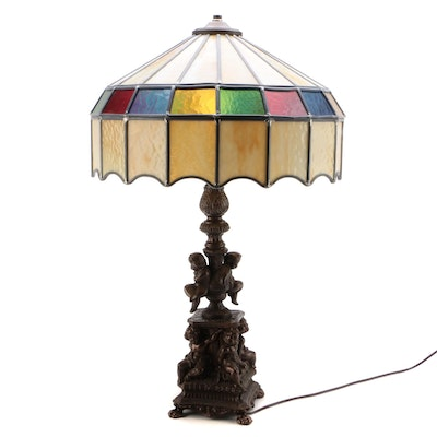 Victorian Style Metal Putti Table Lamp with Stained Glass Shade