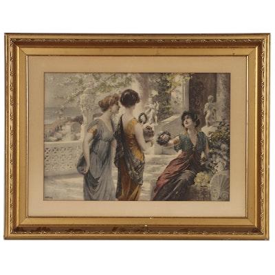 Hand-tinted Photogravure of Greek-Inspired Genre Scene
