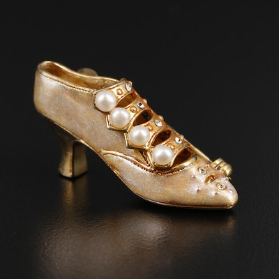 Sterling Silver Pearl and Rhinestone Shoe Brooch