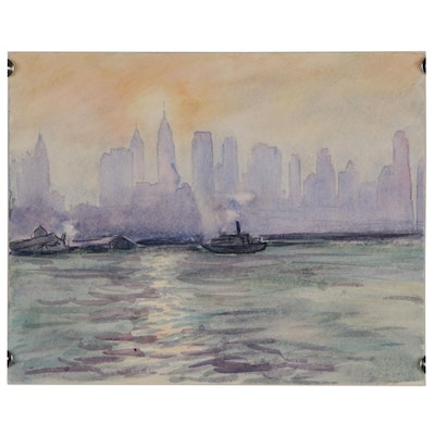 "Charles Finance Watercolor Cityscape Painting ""New York"", 1948"