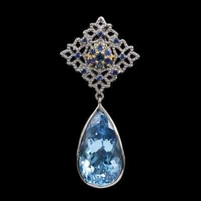 Sterling Silver Topaz and Sapphire Drop Pendant