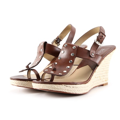MICHAEL Michael Kors Brown Leather Sculpted Espadrille Wedge Sandals