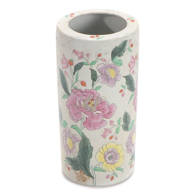 Chinese Hand-Painted Porcelain Umbrella Stand with Floral Motif, 20th Century
