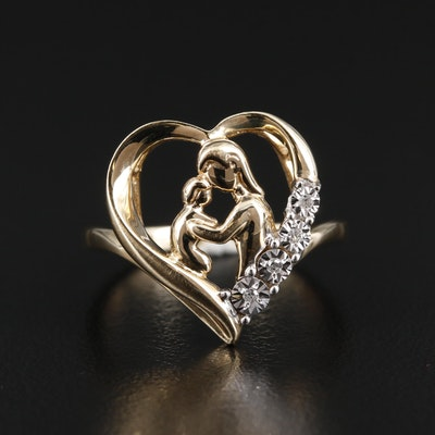 10K Gold Diamond Mother and Child Heart Ring