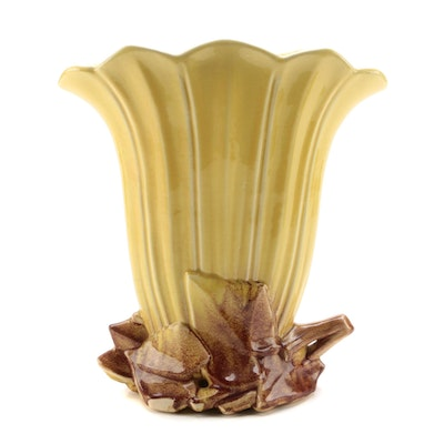 McCoy Yellow Ceramic Fan Vase, Mid to Late 20th Century