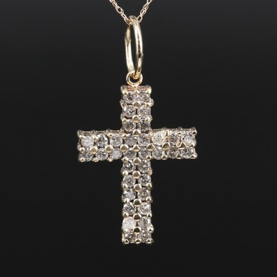 10K and 14K Gold Diamond Cross Pendant Necklace