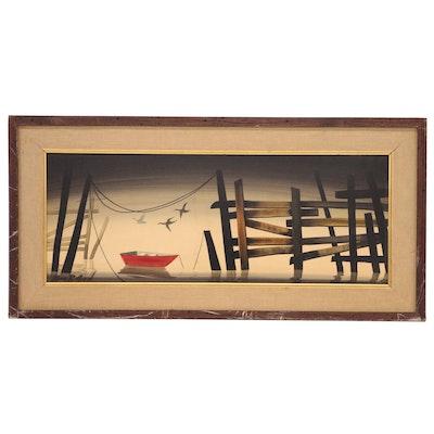 "John R. Good Casein Painting ""Six A.M."""