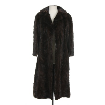 Pierre Cardin for Michael Forrest Mahogany Mink Paw Fur Coat, Vintage