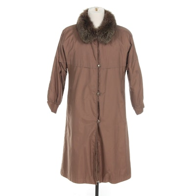 Saks Fifth Avenue Coat with Fox Fur Collar and Detachable Sheared Fur Lining