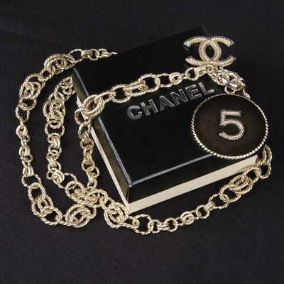 Chanel Silver Tone and Resin No. 5 Pendant Necklace