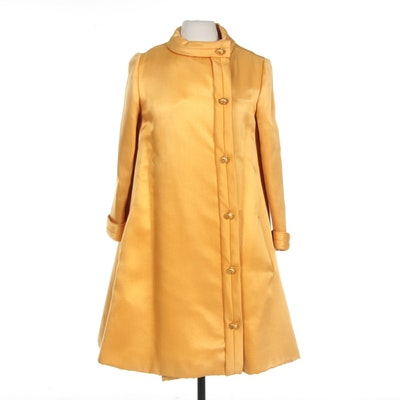 M.S. Couture Yellow Swing Coat and Sleeveless Dress Set, 1960s Vintage