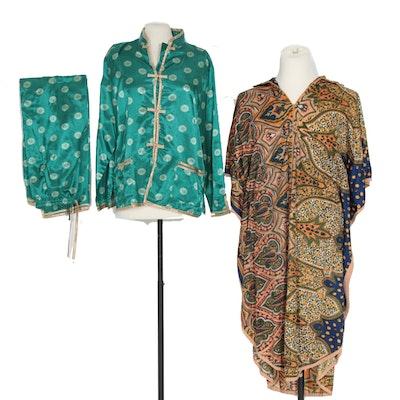 Mademoiselle Caftan and Kathryn Satin Loungewear, Vintage