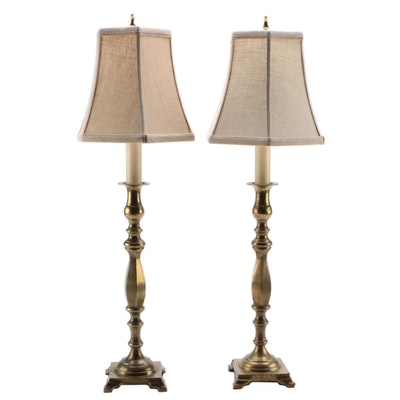 Pair of Brass Baluster Candlestick Buffet Lamps with Fabric Shades