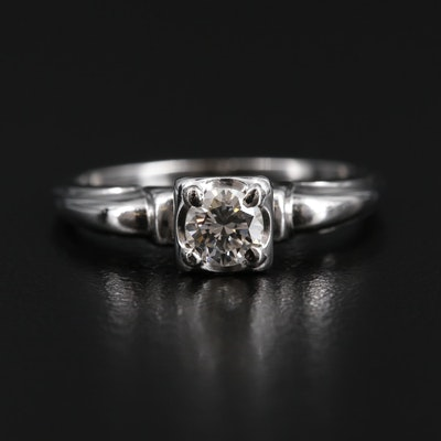 Vintage 14K White Gold 0.31 CT Diamond Ring