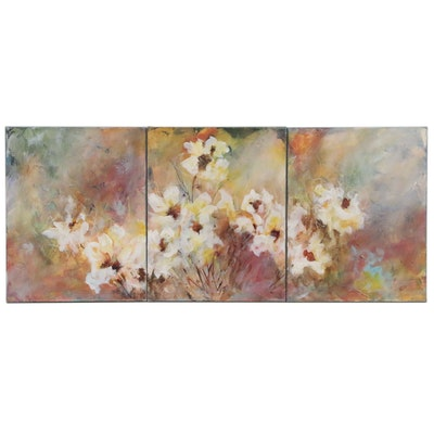 "Sue Dion Abstract Acrylic Triptych Painting ""Firefly"""