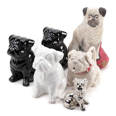 Bulldog Theme Figurines, Teapot and Painted Canvas Doorstop