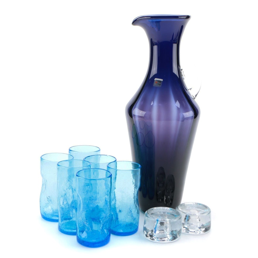 Blenko Art Glass Pitcher and Hurricane Candle Holders with Blue Glass Tumblers