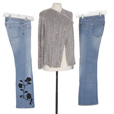 White House Black Market Bootcut Jeans and Sequined Sweater