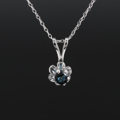 14K White Gold Tourmaline Buttercup Pendant Necklace