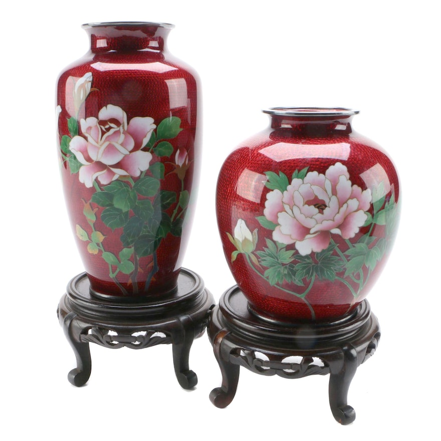 Japanese Ginbari Cloisonne Enamel Vases with Stands