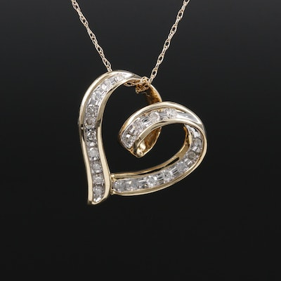 10K Yellow Gold Diamond Heart Pendant on 14K Singapore Chain Necklace