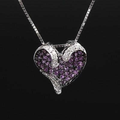 14K White Gold Sapphire and Diamond Heart Pendant Necklace