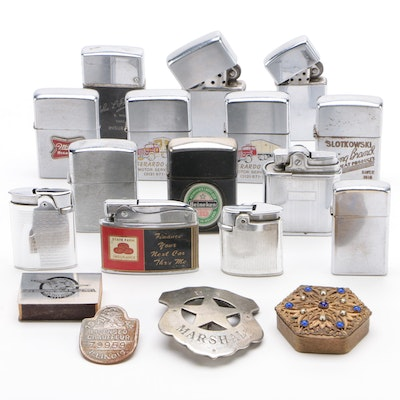 Advertising Cigarette Lighters, Chauffeur-U.S. Marshall Badges, and More