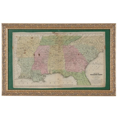 """Hand-Colored """"Map of the Southern States"""" from """"Smith's Atlas"""", circa 1839"""