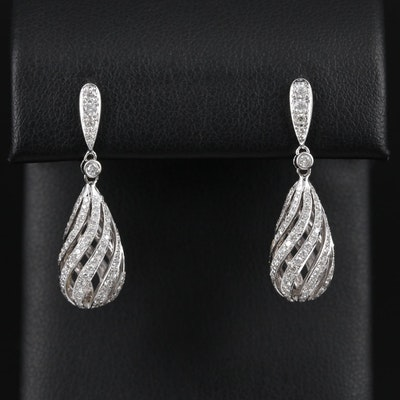 14K White Gold 1.96 CTW Diamond Drop Earrings