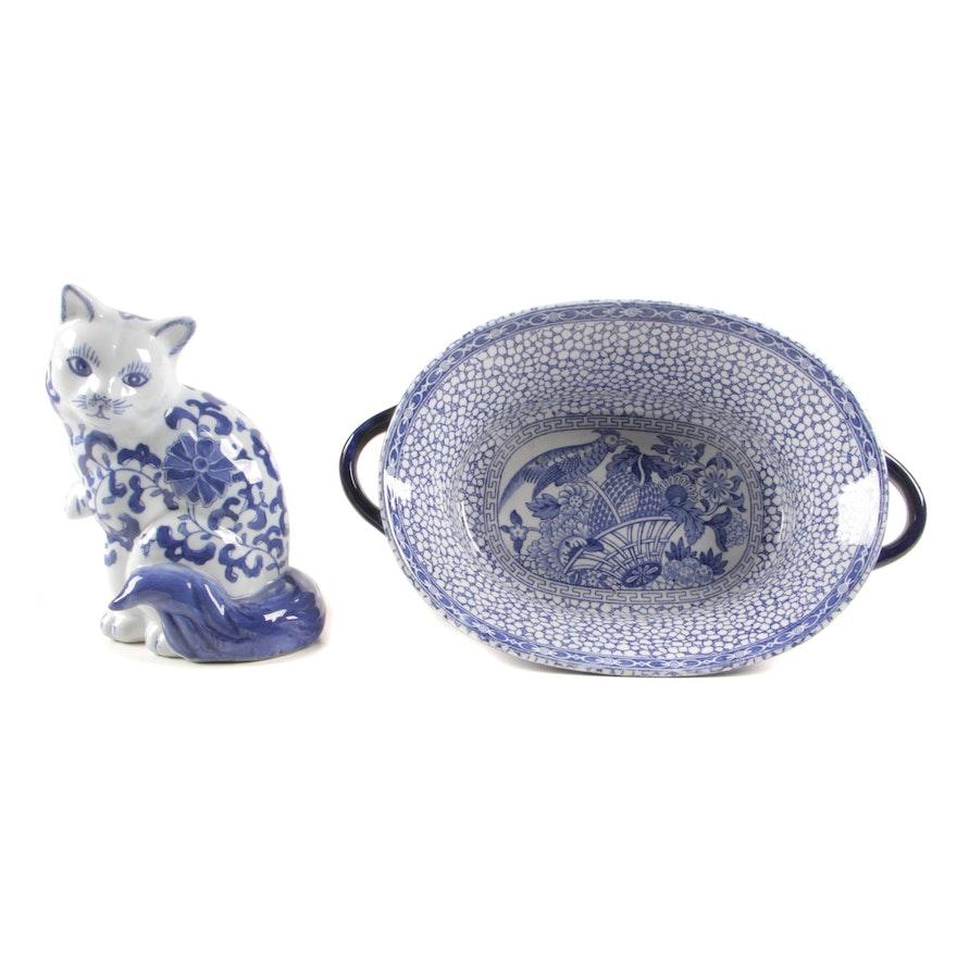 "Adams ""Chinese Bird"" Ceramic Serving Bowl with Chinese Ceramic Cat Figurine"