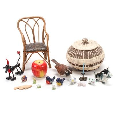 Decorative Basket, Miniature Chair, Porcelain Figurines and More, Vintage