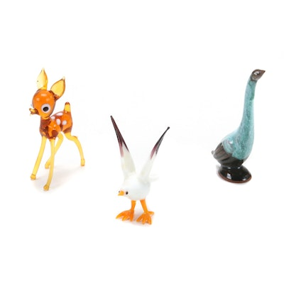 Art Glass Animal Figurines with Earthenware Goose