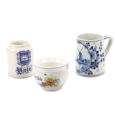 "Delft Hand-Painted Mug with Walker China Yale and ""Aus Liebe"" Mugs"